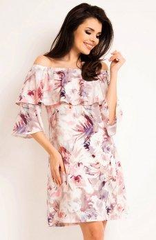 Awama A167 sukienka ciemne kwiaty