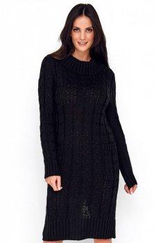 Sweterkowa sukienka z golfem czarna S68
