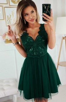 Rozkloszowana sukienka z koronką zielona Bicotone 2206-13