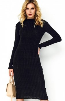 Sweterkowa dopasowana sukienka czarna S100