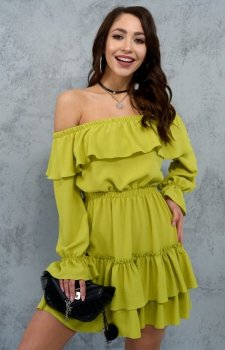 Kobieca sukienka hiszpanka limonka 0297