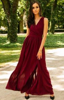 Bordowa sukienka maxi 0213