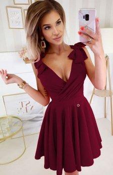 Wizytowa sukienka z kokardkami bordowa 2209-10