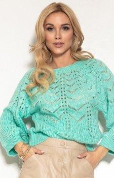 Ażurowy sweter damski miętowy F1156