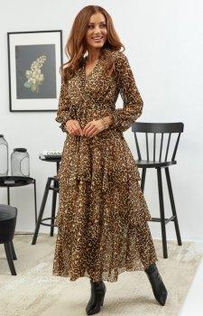Elegancka sukienka w panterkę maxi