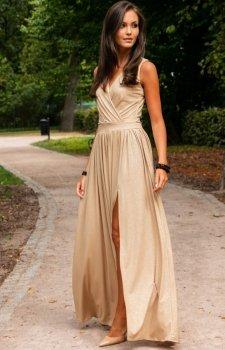 Wieczorowa sukienka z brokatem beżowa 224
