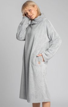 Lalupa ciepła pluszowa sukienka domowa szara