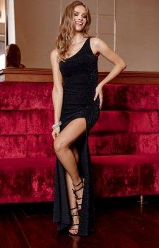 Elegancka czarna sukienka z brokatem 274