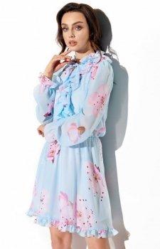 *Wzorzysta sukienka z jedwabiem LG518/18