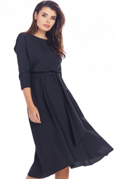 Dzienna sukienka z paskiem czarna A343