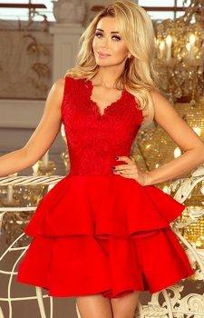 Czerwona sukienka z koronkowym dekoltem 200-4 Charlotte Numoco