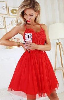 Koronkowa sukienka z tiulowym dołem czerwona 2186-02