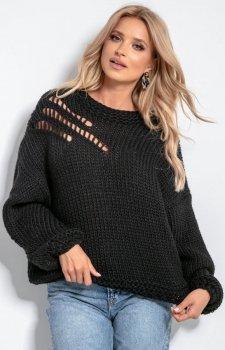 Oversizowy sweter alpaka czarny F1054