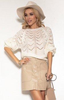 Ażurowy sweter damski ecru F1156