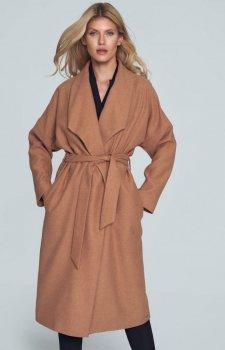 Beżowy jesienny płaszcz damski M713