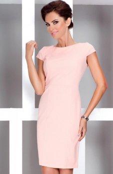 37-1 Elegancka sukienka z krótkim rękawkiem - Brzoskwinia