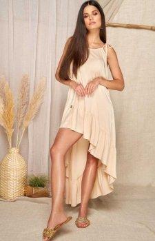 Asymetryczna letnia sukienka beżowa L368A