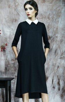 Kasia Miciak design sukienka z kołnierzykiem czarna