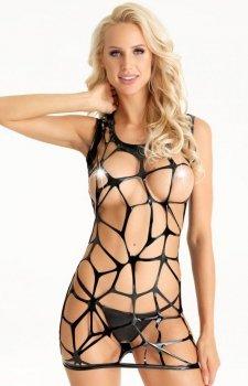 Erotyczna mini sukienka z wycięciem D198