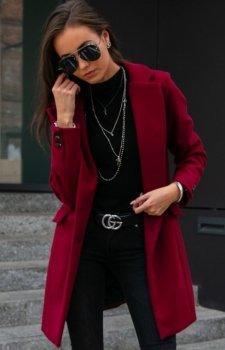 Elegancki płaszcz z wełną bordowy Roco P012