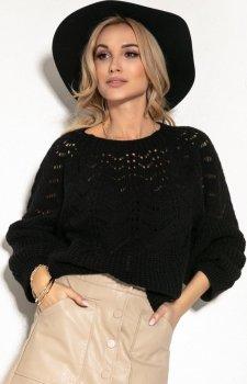Ażurowy sweter damski czarny F1156