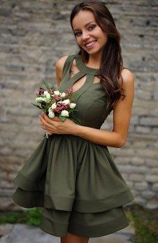 Roco R-198 sukienka oliwkowa