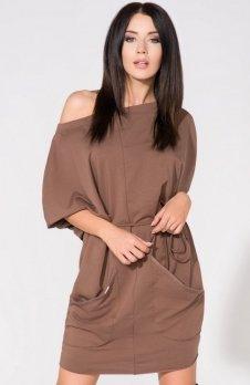 Tessita T155/3 sukienka brązowa