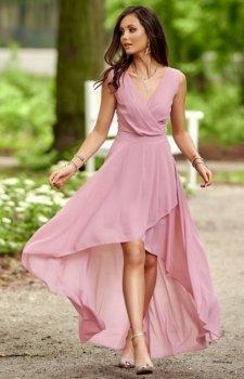 Szyfonowa sukienka z asymetrycznym przodem 0249