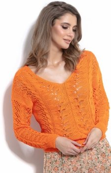 Lekki ażurowy sweterk pomarańczowy F1000
