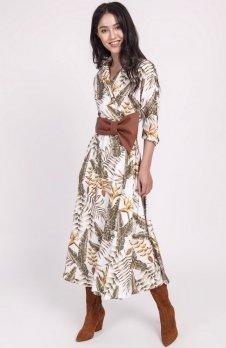 Sukienka długa liście ecru SUK171