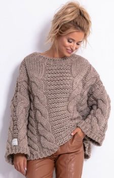 Ciepły sweter z wełny i alpaki mocca F780
