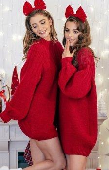 Sweterkowa sukienka czerwona F854