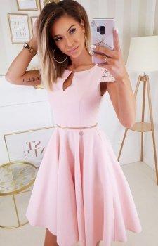 Koktajlowa sukienka midi różowa 2212-12