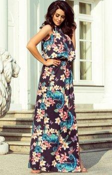 Długa sukienka w kwiaty Numoco 191-3