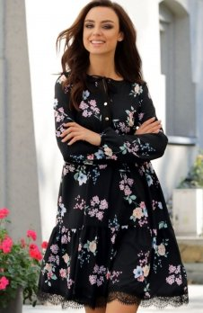 Lemoniade L288 sukienka czarna w kwiaty