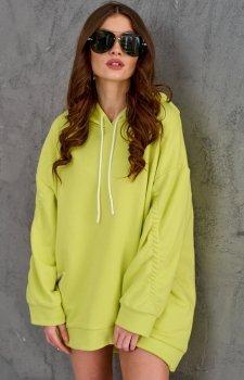 Oversizowa bluza damska z kapturem limonka 0006