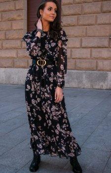 Wzorzysta sukienka maxi 253/D83