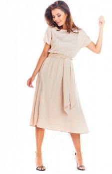 Elegancka sukienka midi beżowa A296