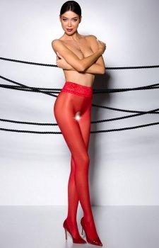 Erotyczne rajstopy z otwartym krokiem czerwone 008
