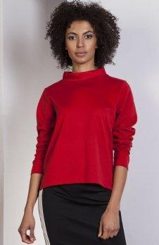 Bluza z dłuższym tyłem czerwona BLU139