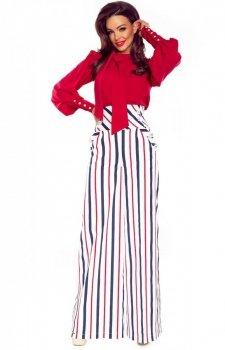 Eleganckie spodnie z szerokimi nogawkami w kolorowe pasy