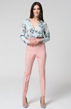 Mosali M032 spodnie z wysokim stanem pudrowy róż