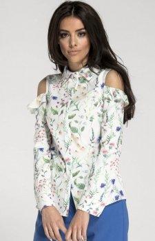 Elegancka koszula z wyciętymi ramionami biała NA1014