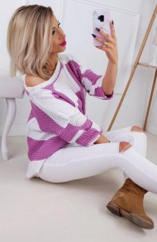 Carmel sweterek w paski biało-wrzosowy