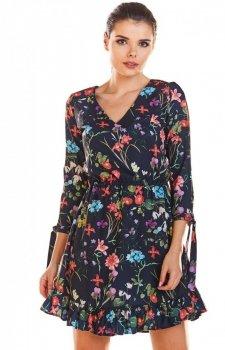 Sukienka w kwiaty na gumie M195