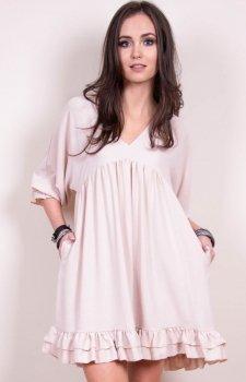 *Luźna sukienka z falbanami beżowa 0238