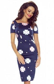 Dopasowana bawełniana sukienka w kwiaty