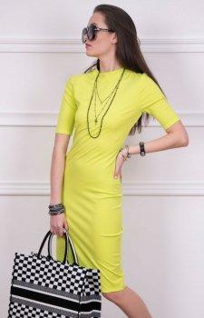 Sukienka z półgolfem żółta Roco 0235