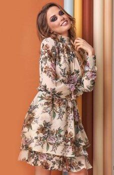Lola sukienka w kwiaty beżowa