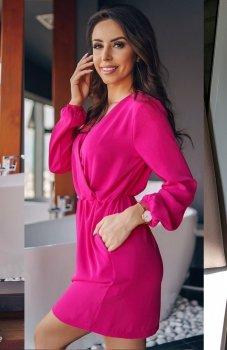 Lola Fashion sukienka przekładana różowa